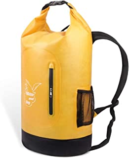 Rjj 600D Tarpaulin Sports Backpack Hiking Backpack Outdoor Hiking Riding Solid Color Bucket Bag Multi-Function Handbag Exquisite (Color : Yellow)