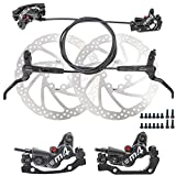 JFOYH 4-Piston MTB Hydraulic Brake Set with 160mm Floating Disc Rotors, Front and Rear Hydraulic Disc Brake Kit for MTB(Pre-Bled, Left-Rear/Right-Front)