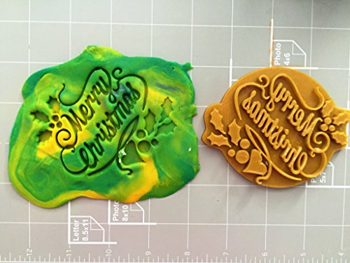 Merry Christmas Fondant Embosser, Stamp, Cookie Cutter