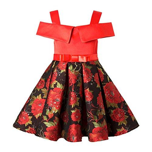 Primavera y Verano Ropa Infantil roja Nueva Chica Vestido Impreso Correa de...