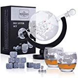 Harrison's Finest Glass Whisky Decanter Set - 850ml Globe Decanter with Glass Stopper, 2 Etched Globe Glasses, Stainless Steel Pouring Funnel and 9 Whiskey Stones