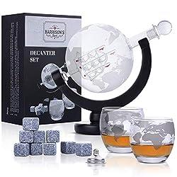 Whisky Karaffe - Glas-Whisky-Karaffe-Set - Kugelkaraffe von 850 ml mit Glasstopfen, 2 geätzten Kugelgläsern, Edelstahl-Ausgießtrichter und 9 Whiskysteinen