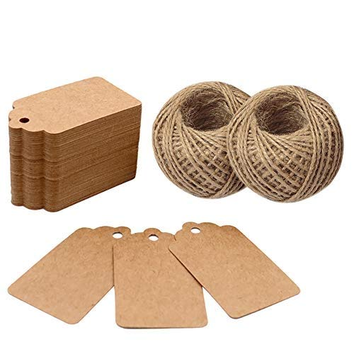 200PCS 7cm X 4cm Kraft Paper Gift Tags with 60M Jute String for Arts and Crafts, Wedding Christmas Day Thanksgiving