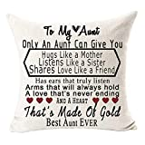 Best Gift for Aunt Only an Aunt Can Give You A Hugs Like A Mother Cotton Linen Throw Pillow Case Cushion Cover Home Office Decorative Square 18 X 18 Inches (Aunt) ?- ??¡