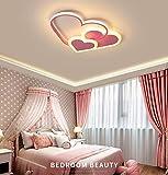 GUANSHAN 3D, lámpara de techo LED, corazones estereoscópicos creativos, lámpara de techo, iluminación para niños, niñas, dormitorio, jardín de infantes, luz cálida, 30W, rosa