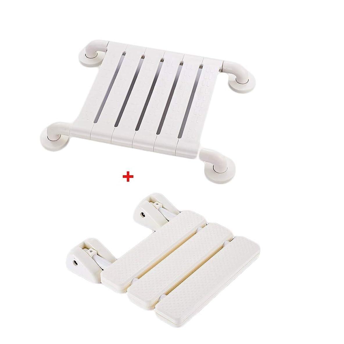 枕取得するエイズバスルーム シャワーチェア シャワーチェア 浴室のシャワーの壁チェアスツール風呂椅子背もたれ折りたたみスツール重量200キロ (Color : White)