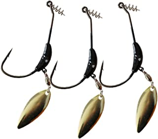 Weighted Hook with Twist Lock Silver or Gold Spin Superline Spring Hook Swim Bait 3pcs/Pack 3g 5.5g 9g