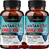 Antarctic Krill Oil 1000mg with Astaxanthin - 2 Pack - 120 Caps Omega 3 6 9 - EPA DHA - 100% Purified, Mercury Free and Wild Caught - Non GMO - Gluten Free - Pure Krill Oil by New Age