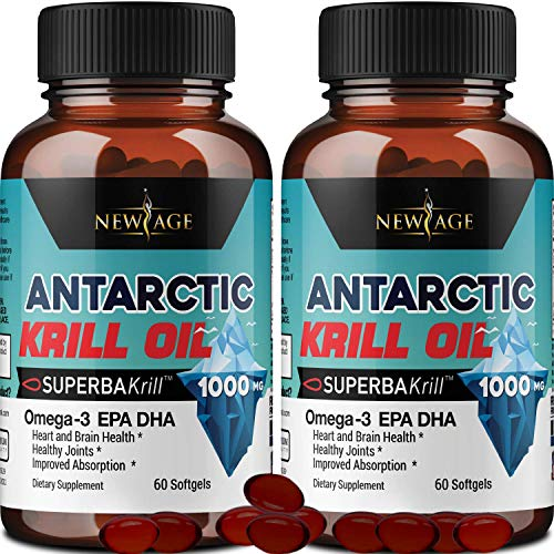 (2-Pack) Pure Antarctic Krill Oil 1000mg with Astaxanthin 120 Caps Omega 3 6 9 - EPA DHA - 100% Purified, Mercury Free and Wild Caught - Non GMO - Gluten Free - Pure Krill Oil by New Age
