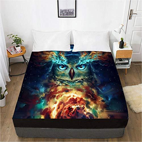 lhmlyl Sábanas Lobo Digital del Protector del colchón de la sábana de la impresión 3D Sueño 006-Negro-F_El 180x200x30cm