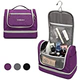 YOBAN Hanging Travel Toiletry Bag with Wet Compartment for Women,Waterproof Portable Bathroom Cosmetic Makeup Organizer Bag, Travel Accessories Toiletry Kit (Purple)