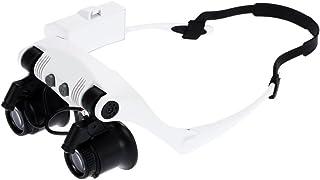 86ceb4fbf5 KKmoon 10x 15x 20x 25x Gafas de Aumento con 2 Luces LED Lupa Relojero  Joyero Lupa