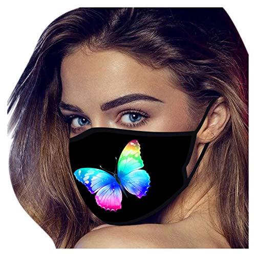 Yowablo 1~10PCS 𝙎𝙘𝙝𝙪𝙩𝙯𝙢𝙖𝙨𝙠𝙚 Waschbar Mund und Unisex 𝙉𝙖𝙨𝙚𝙣𝙨𝙘𝙝𝙪𝙩𝙯 Wiederverwendbar 𝘼𝙩𝙢𝙪𝙣𝙜𝙨𝙖𝙠𝙩𝙞𝙫 Halstuch Schmetterlingsdruck (1PCS,1D)