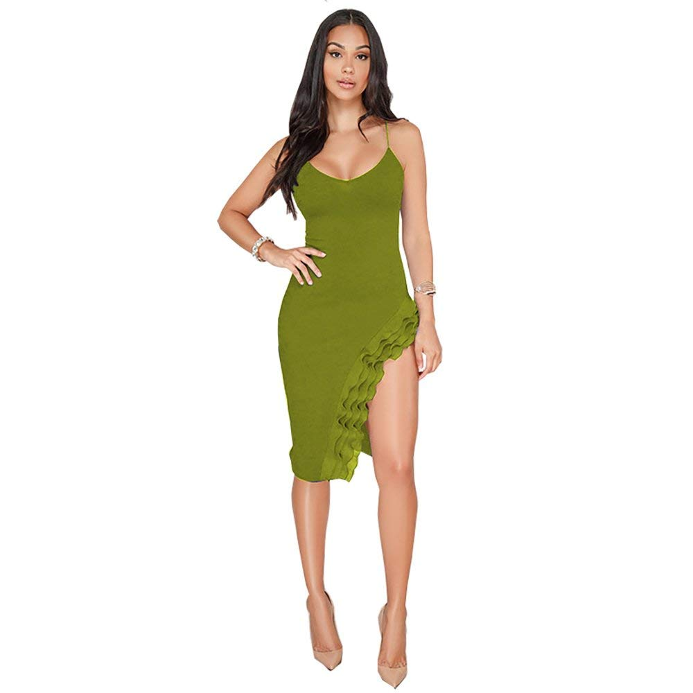 Available at Amazon: LYB FASHION Women's V-Neck Sleeveless Spaghetti Strap Bodycon Sexy Mini Ruffled Dress 4043