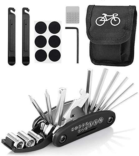 Kit Herramientas Bicicleta, 16 En 1 Kit repara pinchazos Bicicleta, Multifunción, Reparación De Neumáticos De Emergencia para Bicicletas De Montaña Y De Carretera