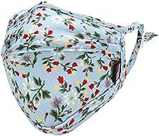 ililily Cotton Floral Patterned Face Mask Reusable Shield with Filter Pocket (Blue)
