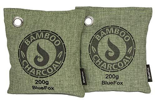 BlueFox I Luftreiniger Bambus 2 x 200g I Luftentfeuchter Aktivkohle I Lufterfrischer & Geruchsentferner Bambusaktivkohle I biologischer Entfeuchter für Auto, Kleider-, Kühl- Schrank I Grün