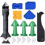 Gobesty - Kit di attrezzi per presellatura in silicone, 15 pezzi, 3 in 1, strumento di finitura sigillante con raschietto in plastica, ideale per bagno, cucina, cucina, pavimento e angolo