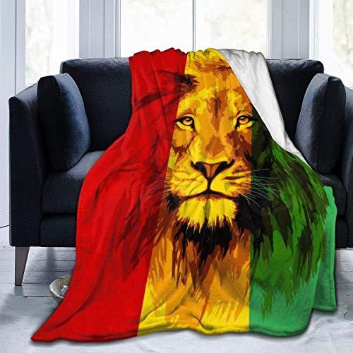 AEMAPE Reggae Rasta Flag Lion King - Manta de Lana de Franela súper Suave y acogedora Manta de Microfibra para sofá, hogar, Cama, Silla, fácil Cuidado, 50 x 60 Pulgadas