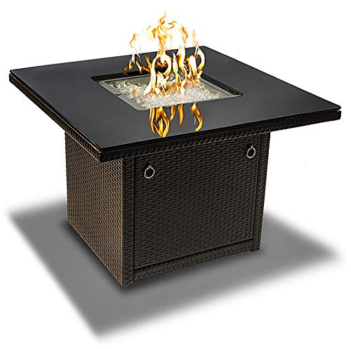 Outland Living Series 410 Brown 36-Inch Outdoor Propane Gas Fire Pit Table, Black Tempered Tabletop...