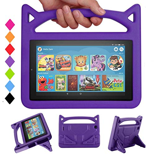 New 7 Tablet Case for Kids-SHREBORN Lightweight Shock Proof Kids Friendly Case with Stand Handle for All-New 7 Tablet(2019 & 2017 & 2015) Release-Purple