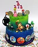 Mario Brothers 23 Piece Birthday Cake Topper Set Featuring Mario Castle, Bomb, Mario Coins, 6 Mario Figures Including Mario, Luigi, Princess Peach, Toad, Yoshi, Donkey Kong, and 12 Mario 1' Decorative Buttons