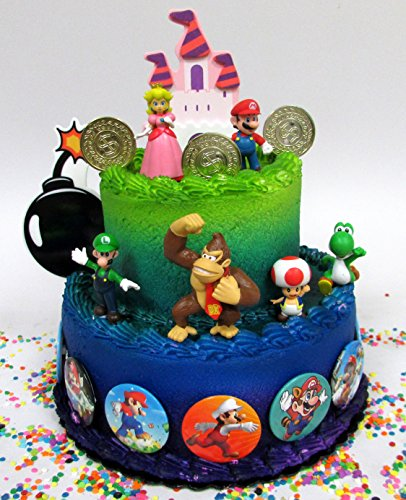 Mario Brothers 23 Piece Birthday Cake Topper Set Featuring Mario...