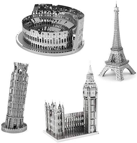 Metal Earth Fascinations Premium Series 3D Metal Model Kits Landmarks Set of 4 Colosseum Eiffel product image