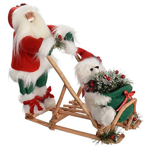 WeRChristmas - Figura Decorativa navideña de Papá Noel con Trineo (42 cm)