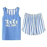 KINYBABY Big Girls Sleeveless Pajama Sets Cute Striped Cotton Sleepwear Pajama Tank& Shorts