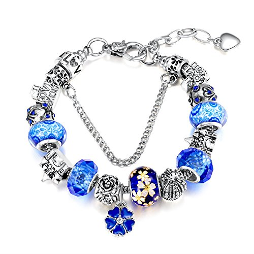 22&Co. Blue Wonderland Theme Fashion Charm Bracelet, with European Style Silver Tone Beads, Ocean Blue Glass and White Gold Plated Copper Snake Chain, for Women