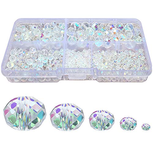 Chengmu 2-10mm Clear White Rondelle Glass Beads for Jewelry Making AB Colour 710pcs Faceted Briolette Shape Crytal Spacer Beads Assortments Supplies for Bracelet Necklace with Elastic Cord Storage Box