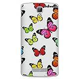 dakanna Funda para [ ZTE Blade L5 - L5 Plus ] de Silicona Flexible, Dibujo Diseño [ Estampado de Mariposas Multicolor ], Color [Fondo Transparente] Carcasa Case Cover de Gel TPU para Smartphone