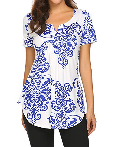 WomensTops,LadiesSummerTeeShirtTunicsTopsPleatedCasualHenleyShirts Blue,M