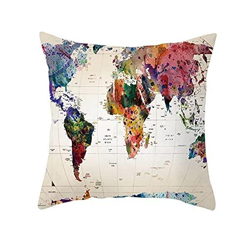 Agoble Funda De Almohada con Cremallera, Funda De Almohada Estampada Poliéster 1 45X45cm Funda Cojin Beige Multicolor Mapa del Mundo