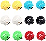 Japan Original OBSF-30 SANWA Arcade Push Buttons 30mm for XBOX360/PS4/PS3/PS Controllers (12 Pieces, Mixed Color)