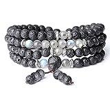 COAI® Pulsera Collar de Múltiples Capas 108 Cuentas Mala de Piedra Lava y Labradorita 6mm...