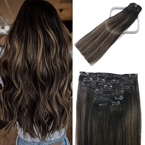 Lashup Double Weft Clip in Hair Extensions Balayage Natural Black to Chestnut Brown Highlight Black #1BT6P1B For Black Women Real Human Hair 120g Stainless Clips Thick Full End 16Inch 7PCS