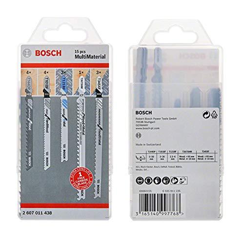 Bosch Professional 15-tlg. Stichsägeblatt Set (MultiMaterial, Zubehör für Stichsägen)