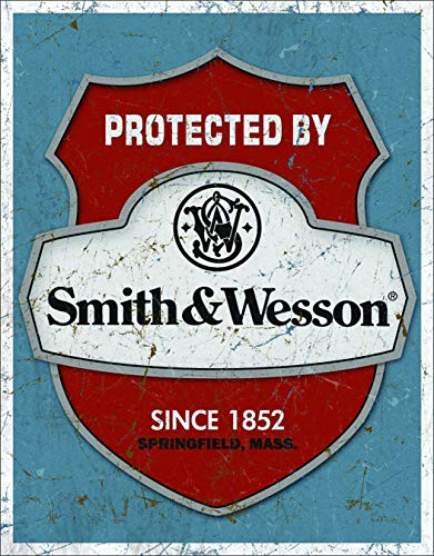 """Desperate Enterprises Protected by Smith & Wesson Tin Sign, 12.5"""" W x 16"""" H"""