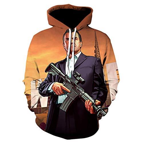 Juego Grand Theft Auto 3D Impreso Sudadera con Capucha Unisex Niños Niñas Niños Ropa Deportiva Manga Larga Street Top Jacket-We-536_XL