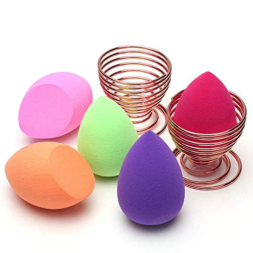 O'Vinna 5pcs Éponge de Maquillage Sans Latex et Hypoallergénique + 2pcs Support d'Éponge à Fond de Teint en Forme d'œuf