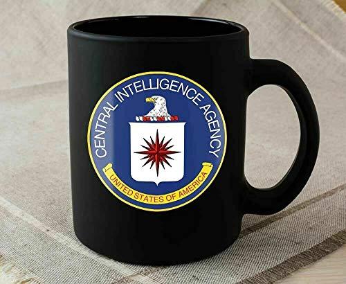 Divertida taza de café de cerámica negra de la CIA Central Intelligence Agency de Estados Unidos C.I.A, té o café, taza de café de 325 ml, regalo para mujeres y hombres
