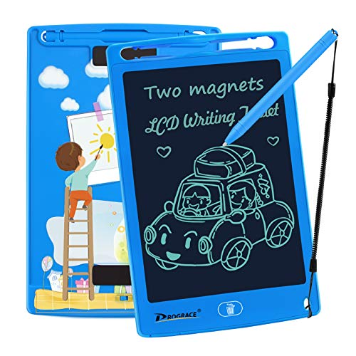 "PROGRACE LCD Writing Tablet for Kids Learning Writing Board Magnetic Erase Writing Pad Smart Doodle Drawing Board for Boys Home School Office Portable Electronic Digital Handwriting Pad 8.5"" (Blue)"