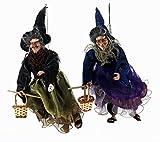 Sunny Toys 21467 - Figuras de Bruja Volando con Escoba y cestita (Aprox. 45cm, con luz y Sonido,...