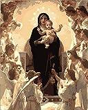 N\A Pinturas con Numeros para Adultos DIY Virgen Angel Bebe For Mayores Avanzada Niños Joven Pintar Numeros Acrilico Pintura Kit