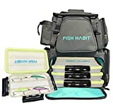 Fish Habit Fishing Backpack - Fishing Tackle Backpack with Rod Holder, 4 Waterproof Tackle Boxes, 4 Fishing Lures - Sturdy Fishing Back Pack - Cool Fishing Bag for Saltwater, Freshwater Fishing Lovers