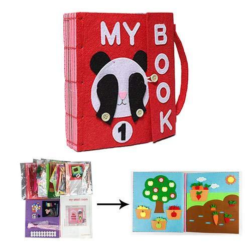 didatecar DIY Libros Blandos De Fieltro para Bebé, Montessori Tableros De Aprendizaje, Juguetes Actividad Libro De Tela, 24 X 22 X 5 CM Safety