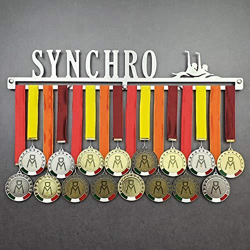 Synchro - Colgador de medallas Deportivas - Medallero de Pared Natación Sincronizada - Sport Medal Hanger - Display Rack (750 mm x 115 mm x 3 mm)