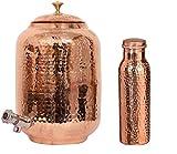 Camel Craft - Dispensador de agua de cobre martillado con botella martillada a juego (1 tanque de cobre y 1 botella de cobre)